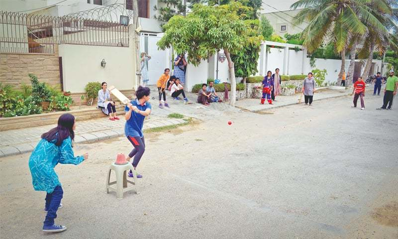 Girls Playing Cricket On A Defence Phase V Road In Karachi The Match Was