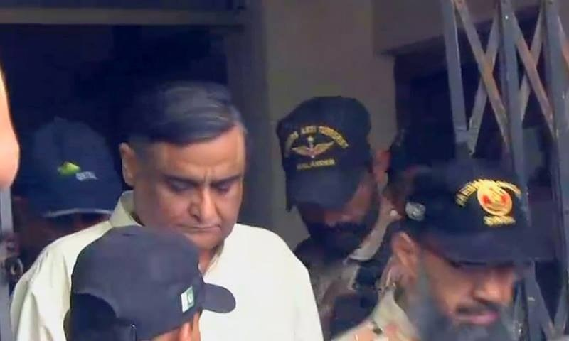 The former federal minister was presented in ATC-III by the Rangers today who informed the court that Dr Asim has been placed under a 90-day preventive detention under Section 11-EEEE of the Anti-Terrorism Act, 1997.—DawnNews Screengrab