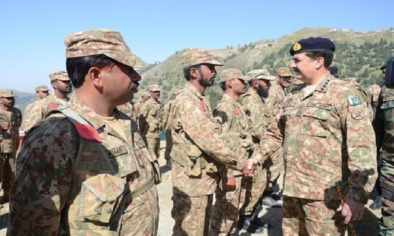 General Raheel commended the troops on their efforts and gains in the operations. — courtesy: ISPR Twitter