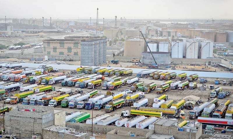 A number of oil tankers remain parked at Shireen Jinnah Colony on Thursday.—White Star