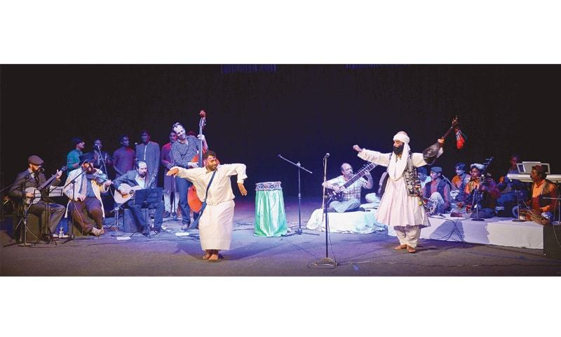 Akhtar Chanal and Abdul Haq performing with the Kentucky Winders at Napa on Friday night.—White Star