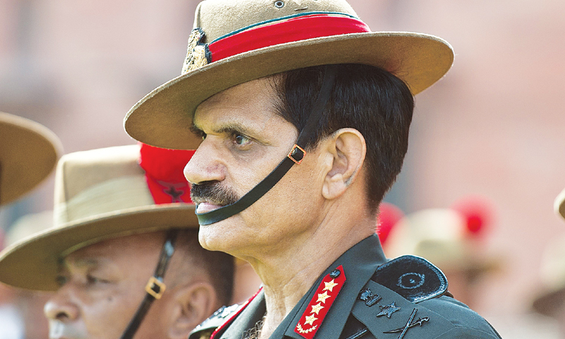 "The Indian army chief accused Pakistan of employing ""new methods to create unrest in Jammu and Kashmir"".—AFP/File"