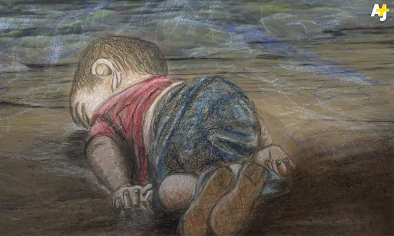 Nothing captures the callousness of our times better than the plight of the displaced among us.  —Image courtesy of AJ+ | Artist: Isabeau Doucet