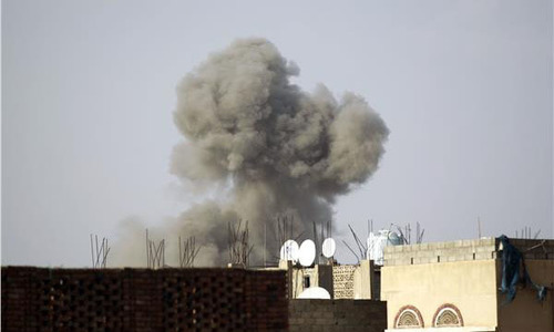 A thick plume of black smoke was seen billowing from the scene of the blast in Yemen. - AFP