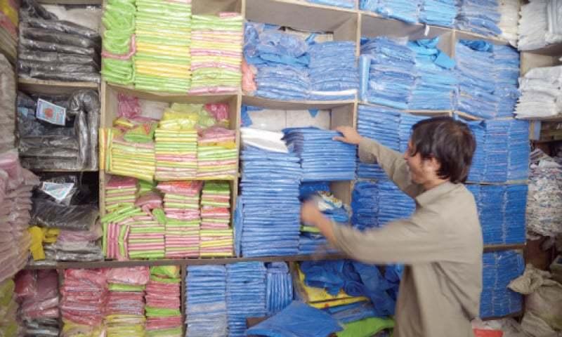 A Vendor S Plastic Bags At Market In Peshawar