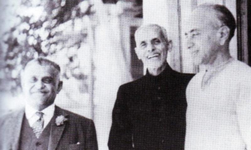 Mohammad Ayub  Khuhro (L), Shaikh Abdul Majeed Sindhi (C) and G. M. Syed.
