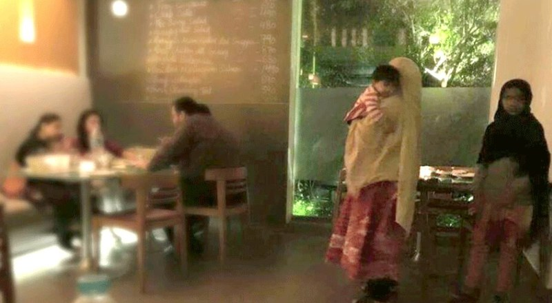 When a picture of a maid apparently being mistreated at a cafe in Karachi went viral, social media went into a frenzy. - Photo courtesy: Yusra Askari