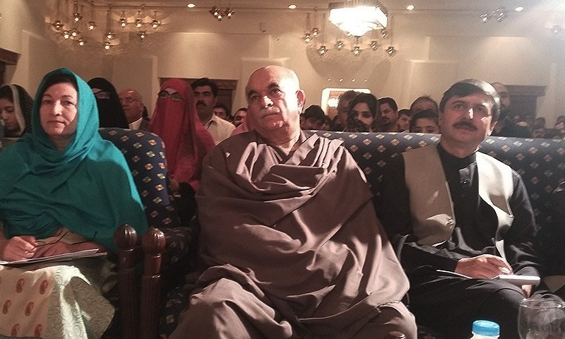 Chief of Pakhtunkhwa Milli Awami Party (PKMAP), Mehmood Khan Achakzai (C)  was among those attending the coference.  — Photo by author