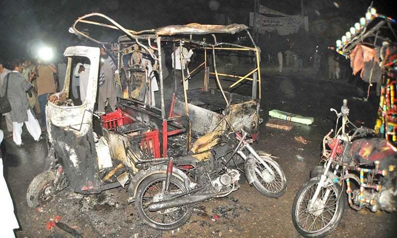 A view of shop damaged after blast at Vehari chowk. —APP