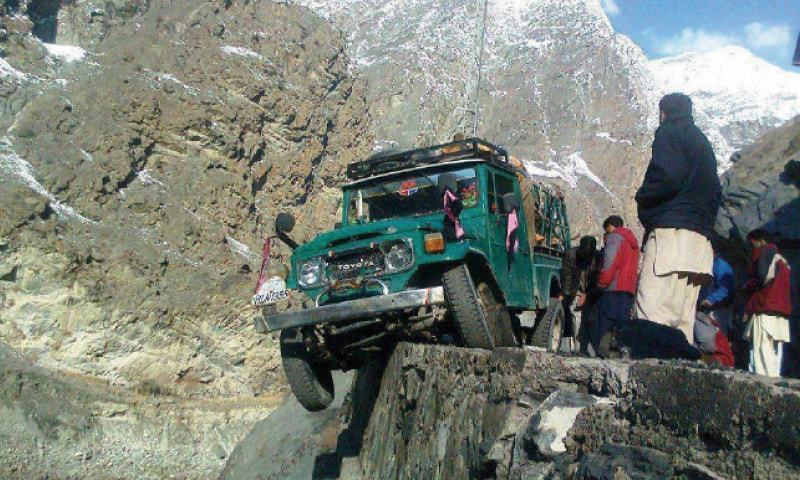 A jeep veers off course while travelling on Gilgit-Skardu Road. — File photo