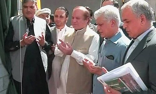 Prime Minister Nawaz Sharif inaugrated the five tunnels which have been constructed in collaboration with China. —DawnNews screengrab