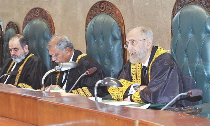 ISLAMABAD: Supreme Court Chief Justice Anwar Zaheer Jamali presides over a ceremony held to mark the beginning of New Judicial Year 2015-2016 here on Monday.—INP