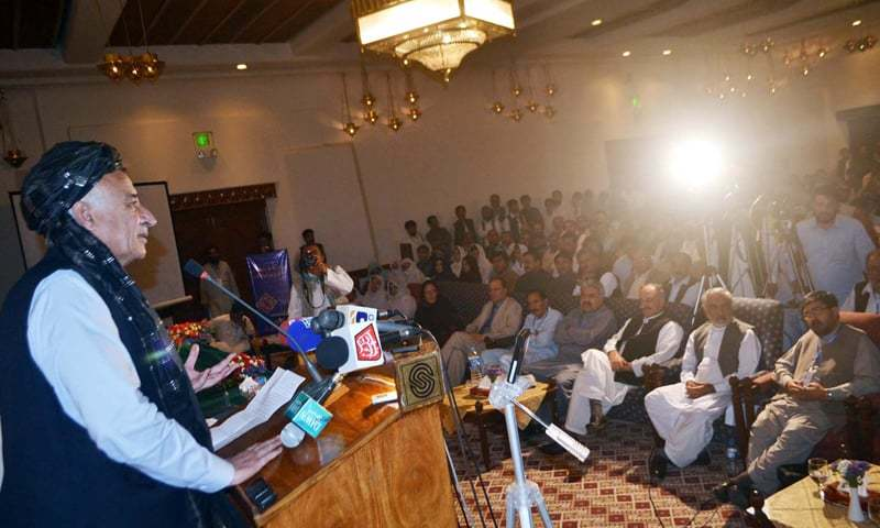 QUETTA: Balochistan Chief Minister Dr Abdul Malik Baloch addressing the Pashto international conference here on Monday.—PPI