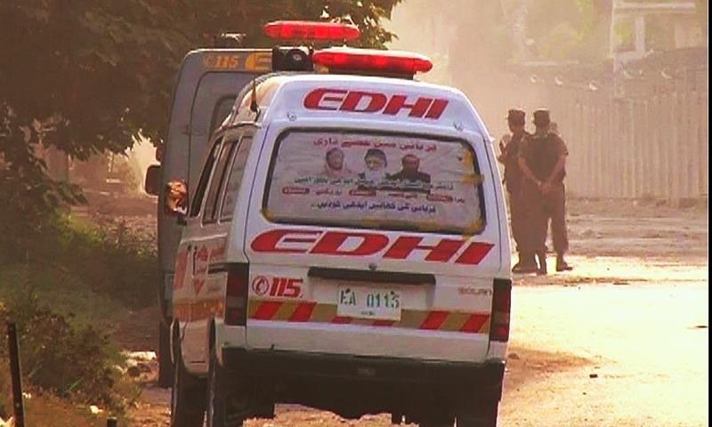 An ambulance standing by at the scene of the attack. ─ DawnNews screengrab.