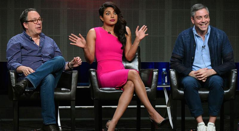 Priyanka Chopra with the makers of the show Quantico, Josh Safran (R) and Mark Gordon (L). —AP