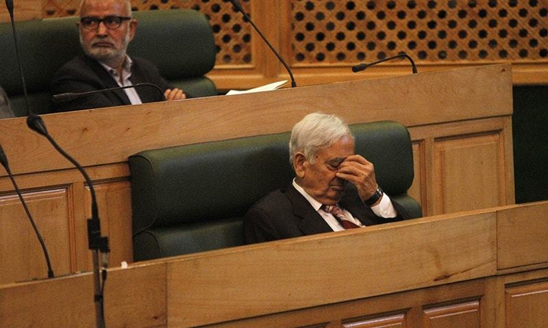 Chief Minister of Jammu and Kashmir state Mufti Mohammad Sayeed sits inside the state legislature house in Srinagar, India-held Kashmir, Thursday, Oct. 8, 2015.— AP