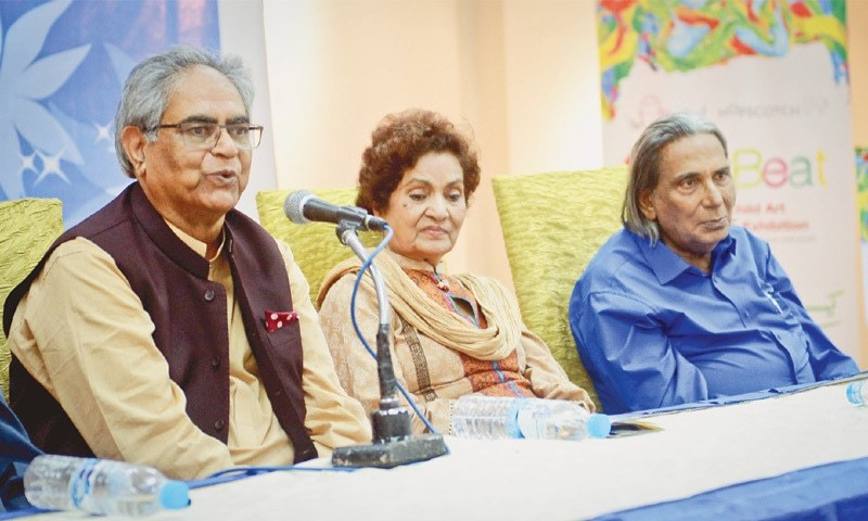 Iftikhar Arif speaks at the Arts Council on Friday evening.—White Star