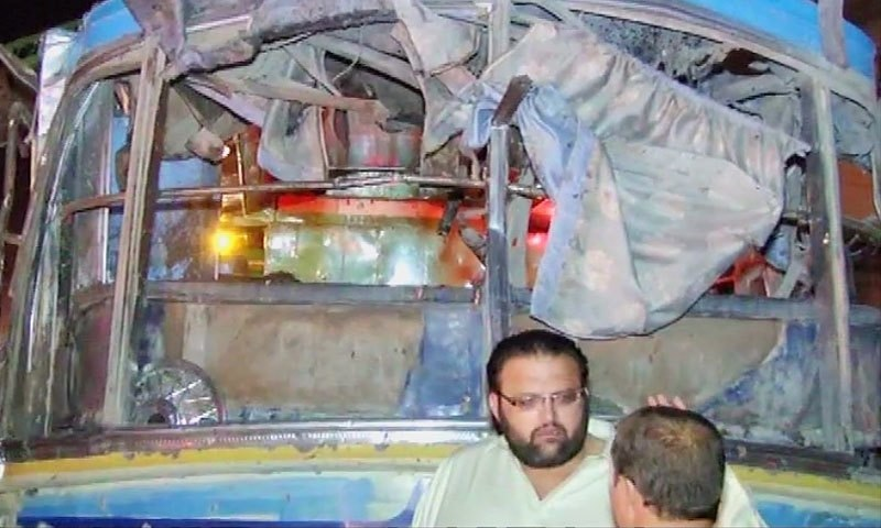 -DawnNews screengrab shows mangled posterior of the bus after the explosion.