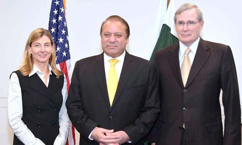 Prime Minister Nawaz Sharif with head of US Institute of Peace Nancy Lindborg. —APP