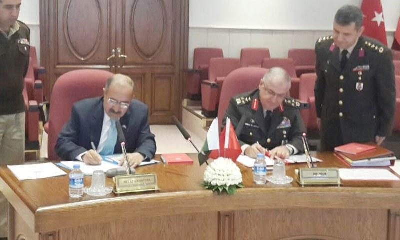 Signing of minutes between Yasar Guler, Deputy Chief of Turkish staff and Secretary Defence Lieutenant General (retd) Muhammad Alam Khattak in Ankara, Turkey. – Photo courtesy PID