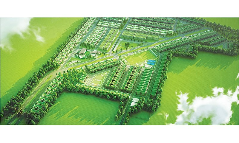 Green buildings minimising environmental impact newspaper aerial view of ecommunity residential estate planned and constructed by pebbles dawood hercules the sciox Choice Image