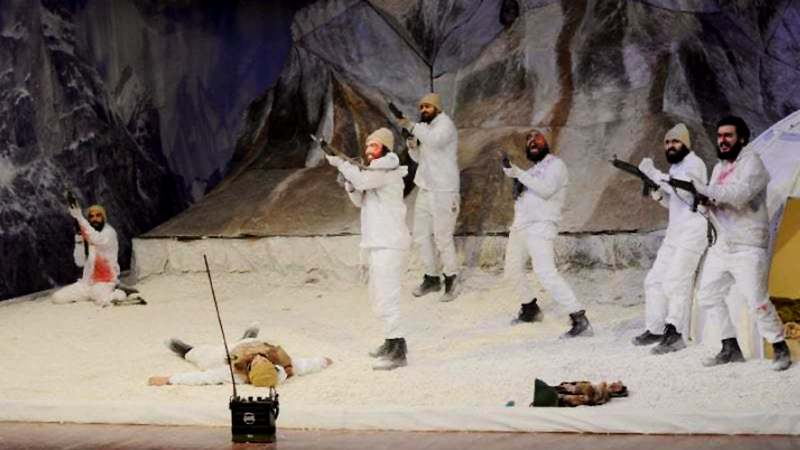 A scene from the play Siachen staged at PNCA on Saturday. — Photo by Khurram Amin