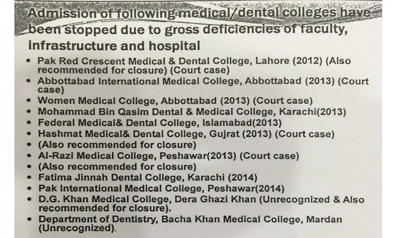 An excerpt from documents submitted by PMDC to the standing committee on National Health Services on July 8, 2015, containing a list of colleges de-notified due to various reasons.