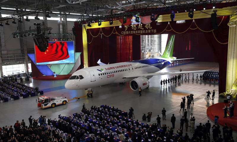 Shanghai: China's first big passenger plane C919 on display at a facility in commercial hub on Monday.—AFP
