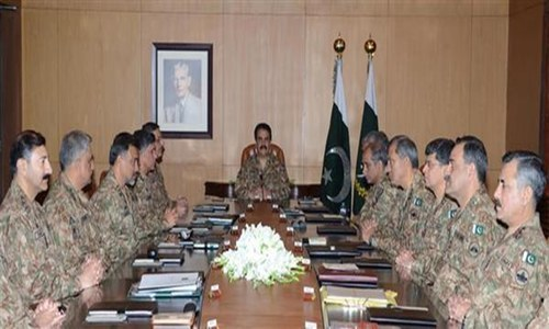 COAS General Raheel Shareef chairs the Corps Commanders Conference held at General Headquarters in Rawalpindi. – Photo courtesy ISPR