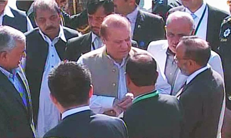"""""""The people of Karachi and Lahore will be connected through motorways,"""" Nawaz said.  —DawnNews screengrab"""