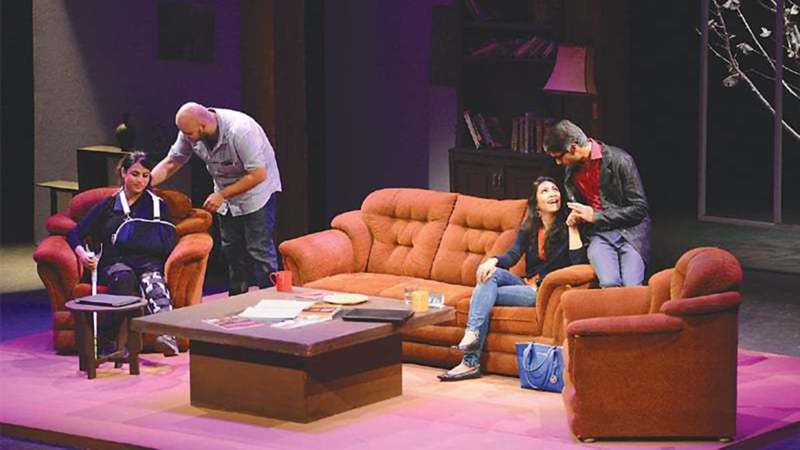 A SCENE from the play Time Stands Still, which uncovers the lives of journalists covering conflict zones.—White Star