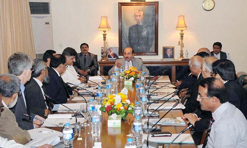 Sindh Chief Minister Syed Qaim Ali Shah presides the meeting regarding rehabilitation of Sukkur Barrage at CM House. -APP