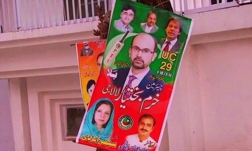 Campaign materials showing election candidates. ─ DawnNews screengrab