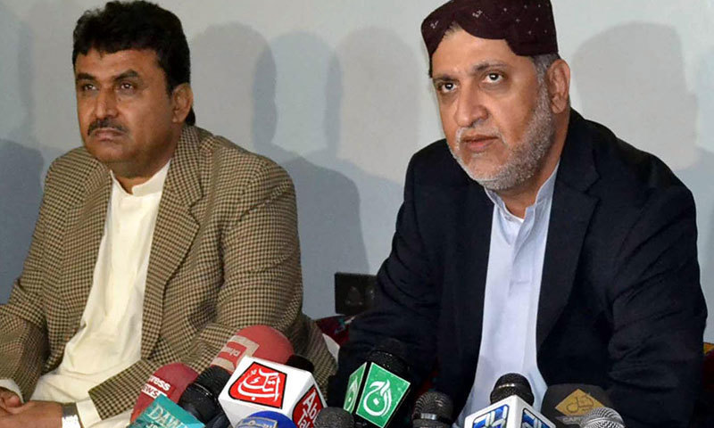 BNP-M Chief Akhtar Mengal addresses a press conference in Quetta. —INP/File