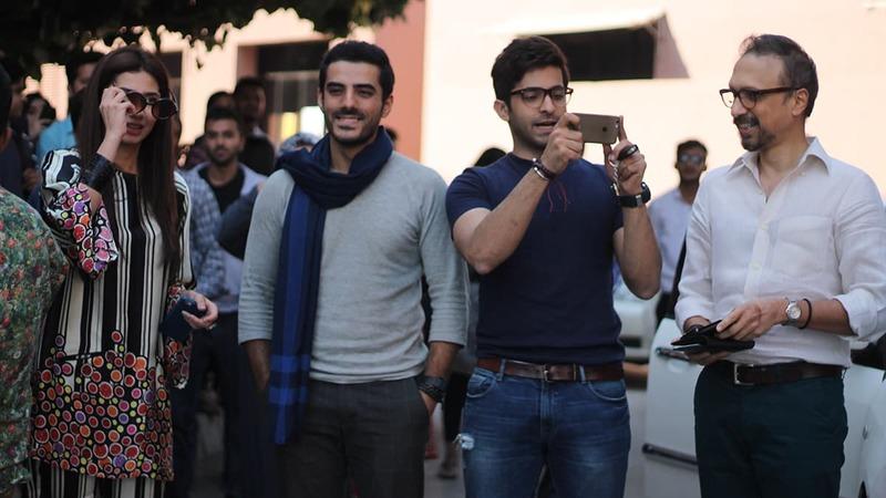 (L-R) Mahira Khan, Adeel Hussain, Sheheryar Munawar and Asim Hussain arrive at the IoBM campus. — Photo by Ibtisam Khanzada