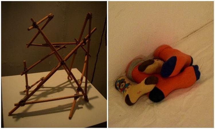 Wooden stick installment (L), plaster installment showing socks (R)