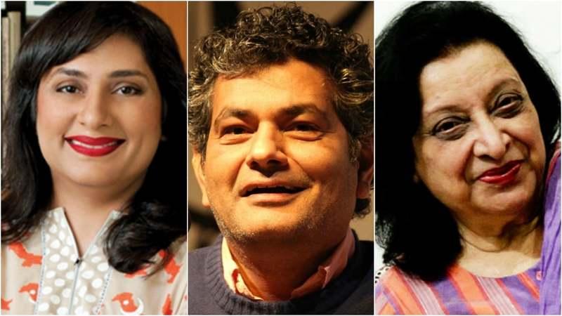 (L-R) Bina Shah, Muhammad Hanif, Fehmida Riaz