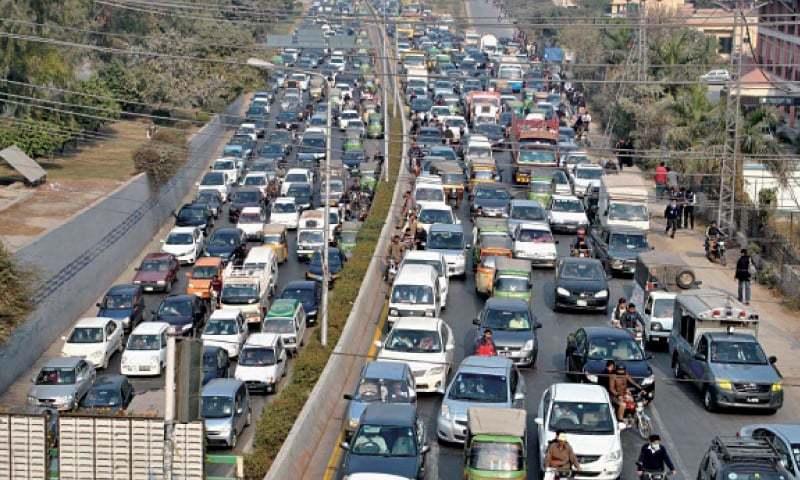 A traffic jam on Ferozpur road, Lahore. — Dawn