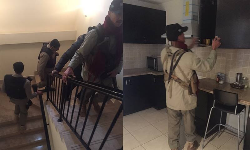 Rangers searching Salman Masood's home. – photo courtesy Salman Masood Twitter