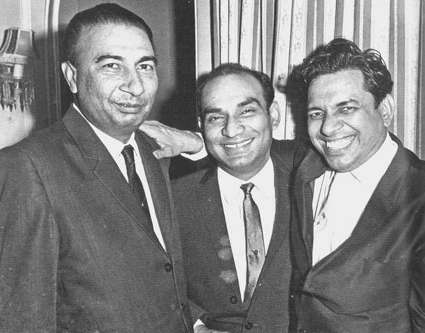 (From left to right) Sahir Ludhianvi, Yash Chopra and music director, Ravi.  - Photo from the book