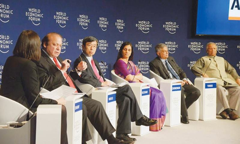 Prime Minister Nawaz Sharif speaking on 'Perspective of Pakistan in the Regional Context' at a panel discussion on 'Regions in Transformation-South Asia' during annual meeting 2016 World Economic Forum at Davos, Switzerland on Thursday. Pakistan Business Council says, 'Manufacturers have to compete against cheap imports under FTAs/PTAs and are required to pay more taxes to make up for the revenue losses on account of these deals.'—PID
