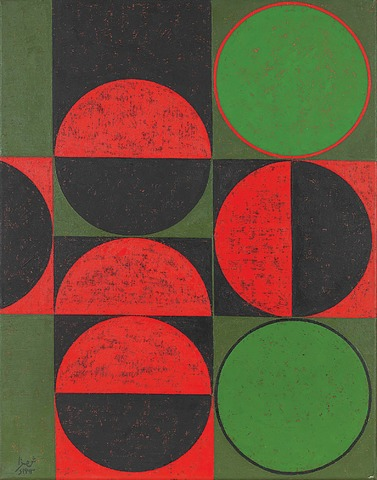 Painting by the artist Anwar Jalal Shemza: 'Composition in Red and Green, Squares and Circles' (1963)    - Photo from the book