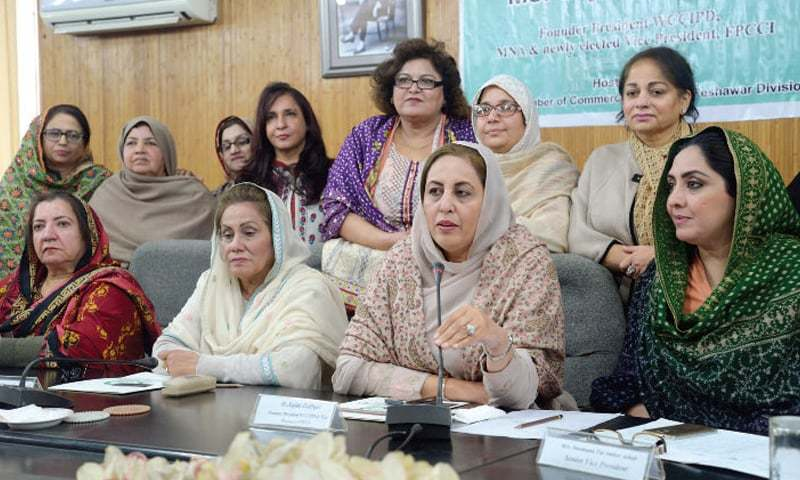 PTI MNA Sajida Zulfiqar addresses a press conference in Peshawar on Wednesday. — White Star