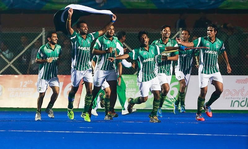 Pakistan Hockey Team Players Celebrate Their Win Against India After The Final Match Of Hockey At