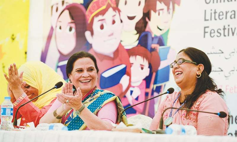 Amra Alam at the session 'Art of Reading with Expression' at the 5th Teachers' Literature Festival held on Sunday.—White Star