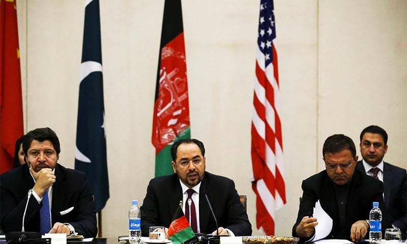 Afghanistan's Foreign Minister Salahuddin Rabbani (C) speaks during a one day meeting with Pakistan, United State and Chinese delegations in Kabul, Afghanistan January 18, 2016. ─ Reuters/File