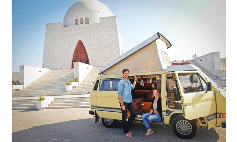 Christian Nieth and Elisabeth Hartmann, who have travelled thousands of kilometres from Germany in their Volkswagen camper, at the mausoleum of the Quaid-i-Azam in Karachi on Friday.—Fahim Siddiqi / White Star