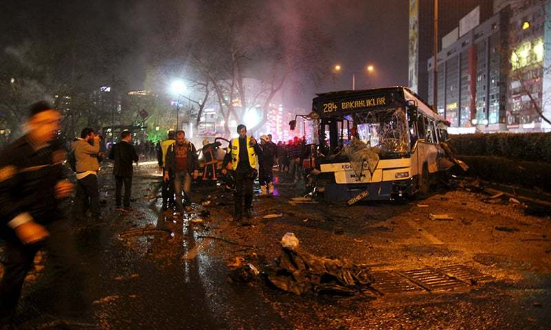 Emergency workers work at the explosion site in Ankara. —Reuters