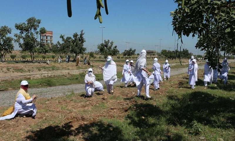 Students planting trees at Regi Model Town. —Photo courtesy PTI