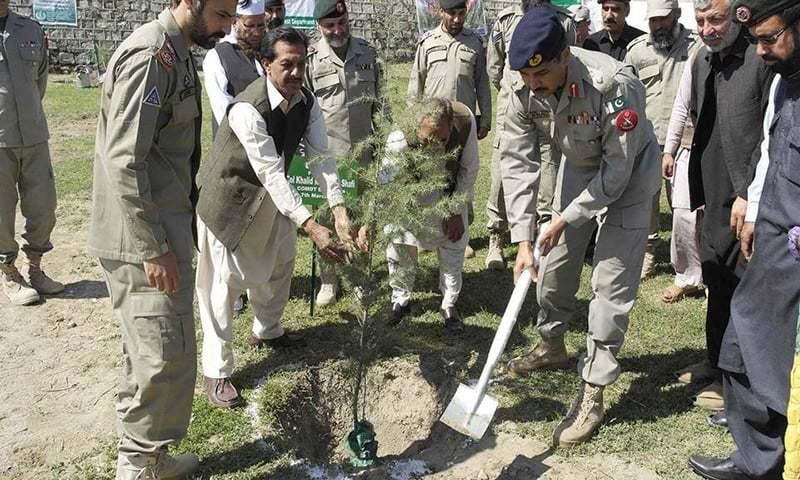 Commandant Dir Task Force Col Khalid Mehmood planting a Deodar tree at Dir Scouts' Head quarter Balambat. —Photo courtesy KP govt